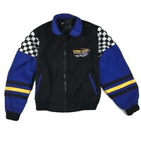 Vintage UAW-GM Motorsports Racing Union Made Varsity Jacket Black/Blue Sz Large