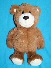 "Bean Bag TEDDY BEAR 10"" Soft Toy Brown Plush Stuffed Cream Feet Ears Dark Nose"