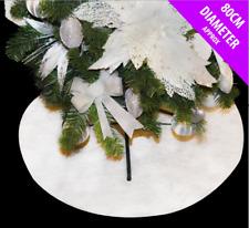 80cm Round White Snow Glitter Blanket Christmas Tree Skirt Cover Xmas Decoration