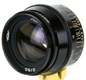 Jupiter-8 50mm f/2 Lens M39 Camera Leica FED Zorki black cap hood Rare finish