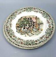 2 Churchill China Victorian Christmas Dinner Plates Multicolor Old World Family