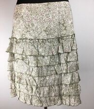 Anthropologie Anna Sui Spring Rain Skirt 8 M Beige Floral Ruffle Tiered Cotton