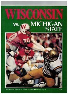 1982 Wisconsin Football vs Michigan State Football Program Vintage (JS)