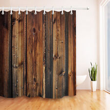 Rustic Wood Pannel Brown Shower Curtain Hooks Waterproof Fabric Curtains 72X72''