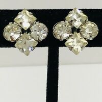 Vintage Art Deco Rhinestone Screw Back Earrings Diamond Shaped Prong Set