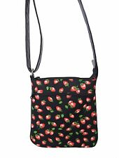 "USA HANDMADE CROSS COVERBODY BAG  ""DELICIOUS STRAWBERRIES"" PATTERN PURSE  , NEW"
