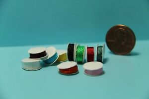 Dollhouse Miniature Sewing Crafting Spools of Ribbon Set of 10 IM65442
