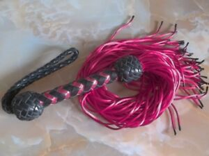 Rattail Flogger -Black & Red, Leather & Nylon - Rubber-tips - Serious BDSM Only