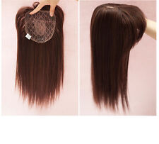 14 inch Synthetic Hair Extensions Clip in Hair Topper Mono Hairpiece with Bangs
