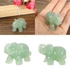 1X Green Aventurine Jade Stone Carved Craving Lucky Elephant Feng Shui Statue