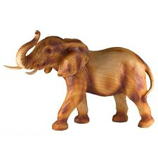Elephant Faux Carved Wood Look Figurine Resin 13 Inch Long New In Box!