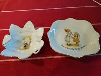 2 Vintage Holly Hobbie Porcelain Vanity Trinket Candy Pin Dish Ashtray