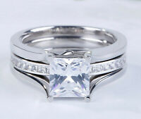 3.12 cts Princess cut Diamond Engagement Ring Wedding Band Solid 14k White Gold