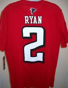 MATT RYAN ATLANTA FALCONS NAME & NUMBER 2 YOUTH LARGE 14-16 2-SIDED RED T-SHIRT