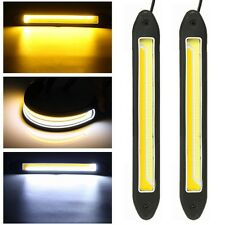 2pcs COB LED DRL Daytime Running Fog Driving Light White Yellow Turn Signal Lamp