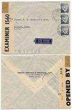 BERMUDA CENSOR INTERCEPTED 1943 PORTUGAL AIRMAIL PRINTED PROPELLOR ENV.to USA