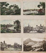 c1830 Schweiz Suisse Svizzera Zürich Bern 6 kolorierte Kupferstich-Ansichten