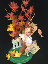 "Annalee Doll Society Logo Kid 1995 ""Going Fishin"" 7"" Tall New!"