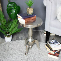 Side End Coffee Table Silver Metal Round Pedestal Occasional Wine Table