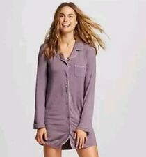 NWT Womens Gilligan and O'malley Button Up Sleep Shirt Small Plum Wink