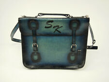 New! Handmade Blue Burnished Leather Flap Briefcase