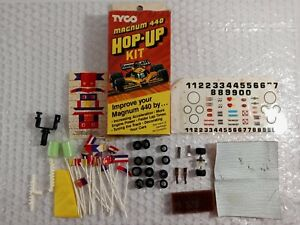 Vintage Tyco Slot Car Magnum 440 Hop-Up Kit Accessories Lot Flags Parts Decals