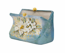 Porcelain Jewelry Box Large Purse Handmade 5.0 x 2.4 x 3.6 inch 3D White Flowers