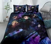 3D Demon Slayer ZHUA188 Bed Pillowcases Quilt Duvet Cover Set Queen King Zoe