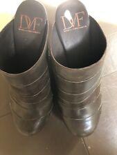 Ladies DVF Grey/Olive Mule Wedges - 8