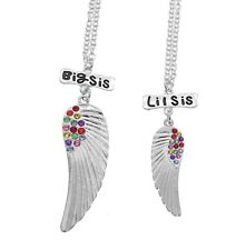 BFF SISTERS NECKLACES FOR 2 GIRLS BIG LITTLE SISTER RAINBOW CRYSTAL ANGEL WINGS