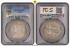 CYPRUS - RARE SILVER 45 PIASTRES 1928 YEAR KM#19 GEORGE V PCGS GRADING XF45