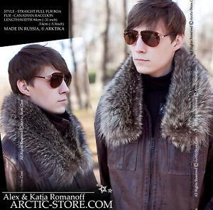 Russian luxury style men's detachable fur collar/boa/stole CANADIAN RACCOON