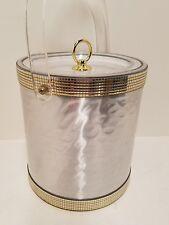 Vintage Mid Century George Briard ice bucket Hollywood Regency Silver Gold Lucit