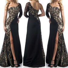 UK Long Split Lace Evening Formal Party Ball Gown Prom Bridesmaid Dress Size8-20