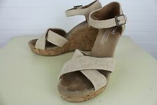 TOMS Womens Size W6 Sierra Natural Linen Canvas Cork Strappy Wedge Shoes Sandal