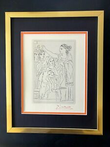 PABLO PICASSO + SIGNED 1962  MINT ENGRAVING MATTED 11 X 14 + LIST $795