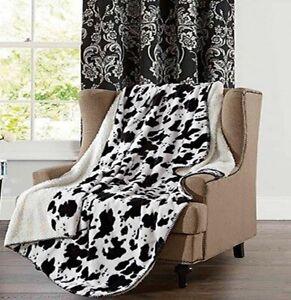 BLACK & WHITE COWHIDE 50x70 SHERPA THROW : FAUX FUR WESTERN COW LAP BLANKET