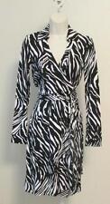 Diane von Furstenberg New Jeanne Two Tiger Shadow Black White 0 wrap dress DVF