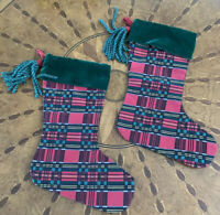 Vintage Plaid Christmas Stockings Red Green Holiday Set of 2 Luxe Velvet Silk