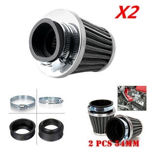 2Pcs 54mm Inlet Cold Air Intake Tapered Air Filter Cleaner For Motorcycle Racer