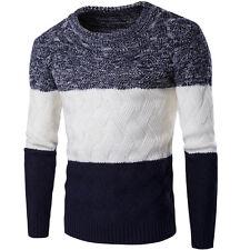 Herbst Winter Herren Pullover Streifen Strickwaren O-Hals  Stricken Jumper Top