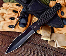 Spear Point Knife Mini Sword Hunting Combat Tactical Jungle Cord Wrapped Sheath