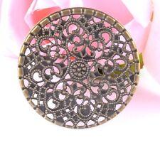 "Lot of 10 FLOWER Antique Bronze-tone FILIGREE WRAPS 1-5/8"" (41mm) (0360)"