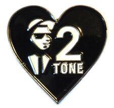Love 2 Tone Ska Black & White Heart Scooter Bike Rider Metal Enamel Badge