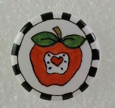 Apple Pin w/ Black & White Checkered Border - Red Apple Brooch