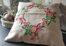 More details for plump vintage jacobean  hand embroidered on linen cushion 17