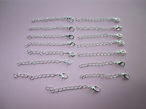 UK Silver Jewellery Bracelet/Necklace/Anklet Extension Chain 3mm x 60mm Approx