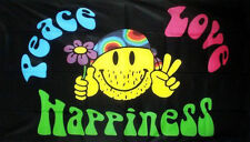 5' x 3' Peace Love Happiness Flag Festival Hippy Smiley Face Banner