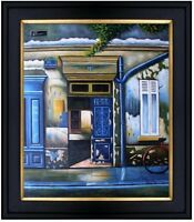 Framed Storefronts in Blue, Hand Painted Oil Painting 20x24in