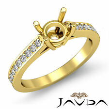 Round Semi Mount Fine Diamond Engagement Pave Set Ring 18k Yellow Gold 0.25Ct